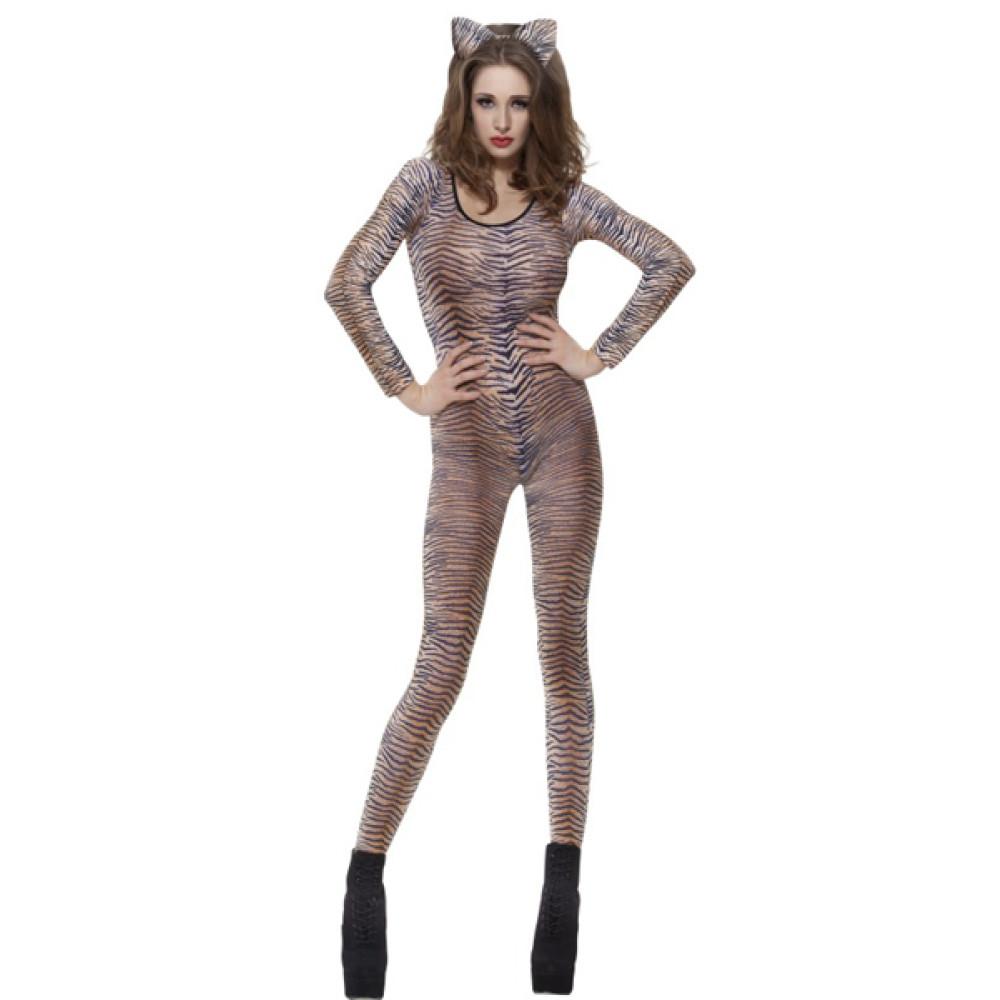 spesso Travestimento Carnevale Donna Tuta Aderente Tigre Seconda Pelle  BG12