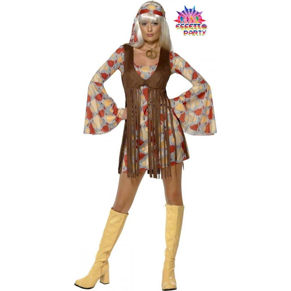 Costume Carnevale Donna Groovy hippie anni 60 anni 70