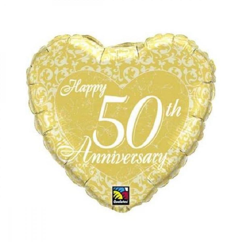 spesso Palloncino per Nozze d'oro Foil , Cuore 50° Anniversario  PK16