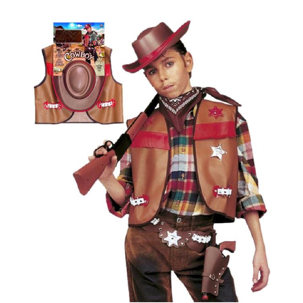 5d81c0165865 Set Carnevale da Sceriffo Far West, Abito Cowboy Bambino e Ragazzo ...