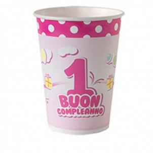 Confezione Bicchieri carta 1° Compleanno Bimba  | Effettoparty.com