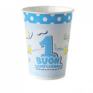 Confezione Bicchieri carta 1° Compleanno Bimbo   Effettoparty.com