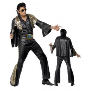 Costume Carnevale Adulto Travestimento Elvis Presley Nero Oro PS 08898
