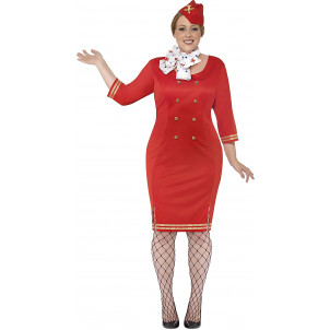 Costume Hostess Rosso Travestimento Carnevale Donna EP 08124 Abiti Taglie Forti Pelusciamo Store Marchirolo