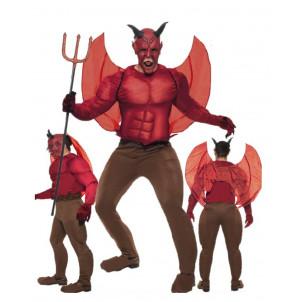 Costume Halloween Adulto Diavolo Alato , Davil con Muscoli