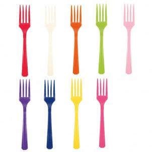 Accessori Festa Colore, 10 Forchette in Plastica  Colorate   *23015| Effettoparty.com