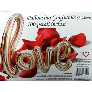 Scritta Palloncini Mylar Love con Petali   | Effettoparty.com