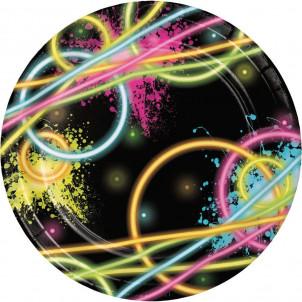Accessori Festa Compleanno  Piattini 17 cm Fluo Glow    Effettoparty.com