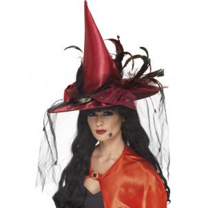 Accessorio Costume Halloween Carnevale Donna Cappello Strega Porpora Velo 76a59f688ce5