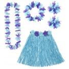 Accessorio Costume Carnevale Set Hawaiana Blu Con Fiori PS 08171 pelusciamo store