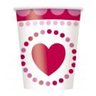 Accessori Festa San Valentino 8 Bicchieri Carta Cuore  *02708  | Effettoparty.com
