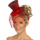 Accessorio Carnevale Cappello Burlesque rosso Glitter Can Can | effettoparty.com