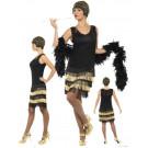 Costume Carnevale Donna abito ballo Charleston nero oro smiffys *16213