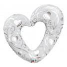 Palloncino Gigante in Foil, Cuore Bianco E Argento 107 cm *01792 | Effettoparty.com