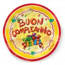 Confezione 10 Piatti Cartoncino Buon Compleanno | Effettoparty.com