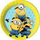 Festa Compleanno Tema Minion , 8 Piatti Carta 22 cm    Effettoparty.com