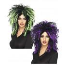 parrucca halloween donna fluorescente viola. pelusciamo.com