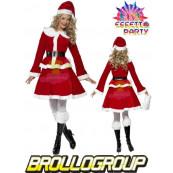 Costume carnevale donna abito vestito Miss Babba Natale smiffys *12199