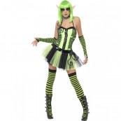 Travestimento Carnevale Halloween Donna Elfo verde fluo smiffy's *05402