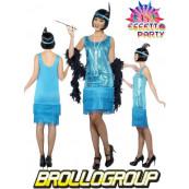 Abito Carnevale Donna Charleston Azzurro Anni 20, 30 Ballo *16229