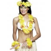 Set Hawaiano Ghirlanda Fiori Giallo - Feste Party Costume Hawaii