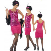 Costumi carnevale abito Donna Charleston Fucsia Anni 20 30 Ballo *16226