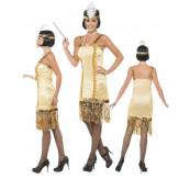 Costume Carnevale Donna Charleston Oro Anni 20 Abito Ballo *16232