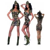 Miniabito sexy militare Costume Carnevale Donna Maggiore mimetico *10458 smiffys 35332