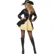 Travestimento Costume Carnevale Donna Sexy Pirata Nero Oro EP 12551