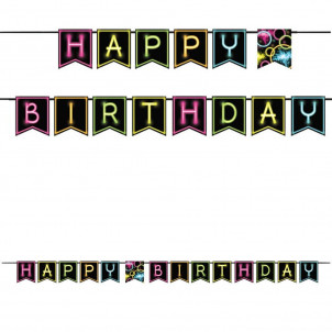 Banner Festone  Happy Birthday Fluo Glow  | Effettoparty.com