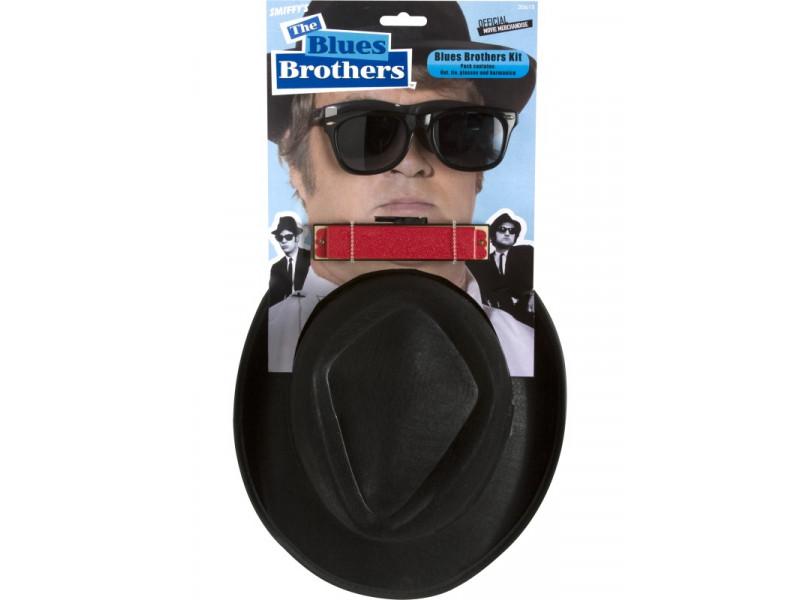 Kit Blues Brothers Cappello Armonica occhiali da sole cravatta 30615  08472 80a83bdcbdd5