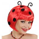 Parrucca Coccinella con Antenne Travestimento Carnevale Donna | Effettoparty.com