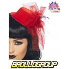 Accessorio costume Cappello Burlesque Mini Cappello Rosso | Effettoparty.com