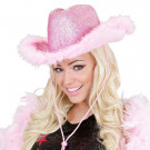 Cappello Cow Girl Rosa Lurex e Piume di Marabu, One size EP 10030 Effetto Party Store Marchirolo