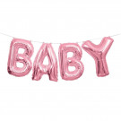 Ghirlanda Palloncini Mylar Scritta Baby Bambina | Effettoparty.com