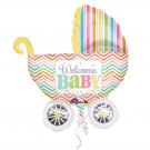 Palloncino Foil Per Nascita Bambino  Bambina Forma Carrozzina  *24245 | Effettoparty.com